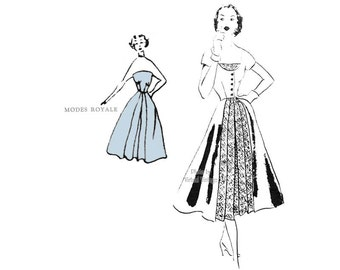1950s Modes Royale Pattern 1074, Vintage Full Skirt Strapless Dress Sewing Pattern with Redingote