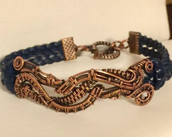 Copper wire wrapped bracelet with leather