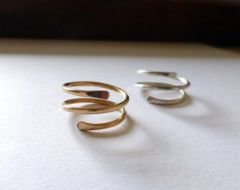 Hammered Gold or Silver Ring, Wire wrapped Ring, Triple Wrapped Ring, Hammered Silver Wrap Ring, Modern Gold Ring, Spiral Ring by m. frances