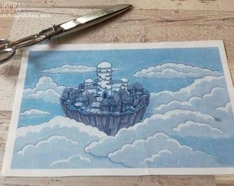 Illustrated fabric coupon - polycotton 30 x 18 cm