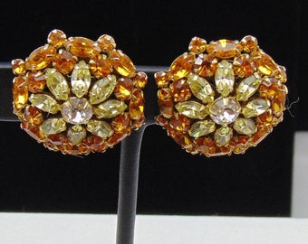 Vintage Signed Alice Caviness Jonquil, Clear and Topaz Rhinestone Clip Earrings