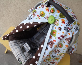 Carseat Canopy Forest Animals BUTTON NOT INCLUDED