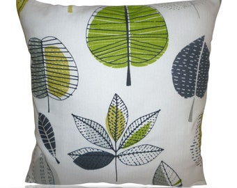 "Cushion Pillow Cover Lime Green Gray Decorative Designer Pillowcase Sham Slips Accent Throw Pillow. ONE x 16"" (40cm)"