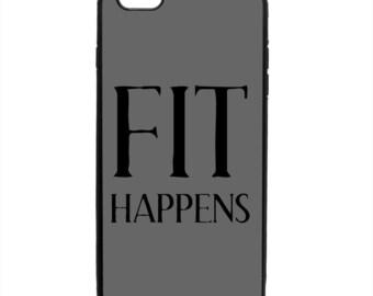 Fit Happens Print Pattern Phone Case Samsung Galaxy S5 S6 S7 S8 S9 Note Edge iPhone 4 4S 5 5S 5C 6 6S 7 7S 8 8S X SE Plus