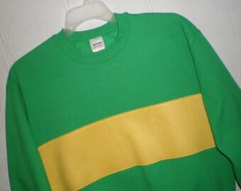 Undertale shirt, Chara shirt, Chara sweatshirt, costume, cosplay shirt, green sweatshirt with yellow fleece stripe, unisex adult sizes