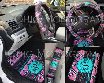 Aztec Tribal Car Accessories MIX AND MATCH Personalized Car Mats Steering Wheel Cover Seat Belt Covers Cute Car Accessories Floor Mats