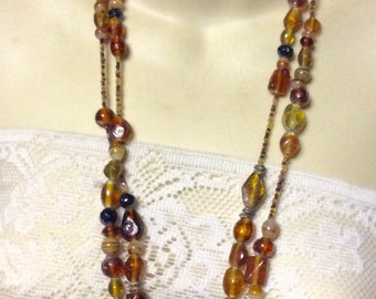 Vintage lampwork glass beaded necklace.