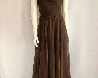 Vintage Women's 60's Miss Elliette, Length, Brown Dress, Tulle, Gown (S)