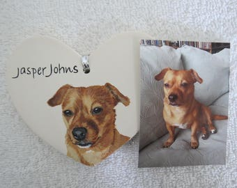Pet Portrait Ceramic Heart Ornament Hand Painted and Made to Order using provided photo by Shannon Ivins