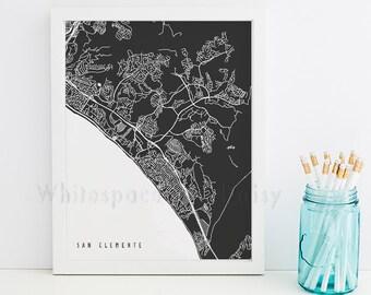 San Clemente Map San Clemente Art San Clemente Map Art San Clemente Print San Clemente Printable California Art
