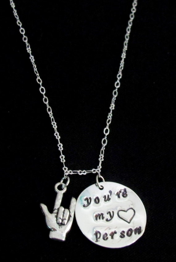 Youre my person necklace,ASL Jewelry, Grey's Anatomy,ASL Necklace,You're My Person Necklace - Best Friend Gift -Free Shipping USA