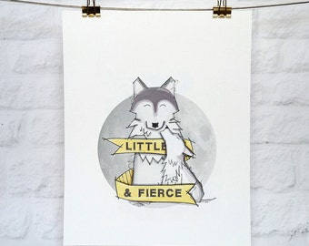 Wolf Nursery Art Print - Little & Fierce - Wolf Cub 5x7 and 8x10