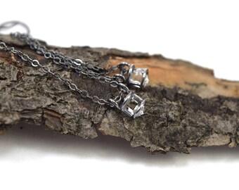 Genuine Herkimer Diamond Earrings - Diamond Quartz Earrings - Herkimer Earrings - Oxidized Sterling Silver - Herkimer Dangle Earrings