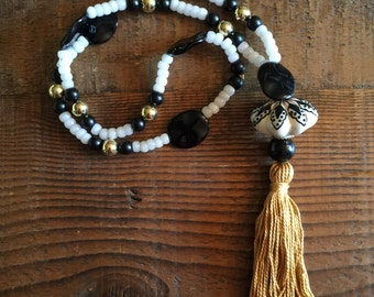 Black, Gold, and White with Gold Tassel and Handpainted Bead Head