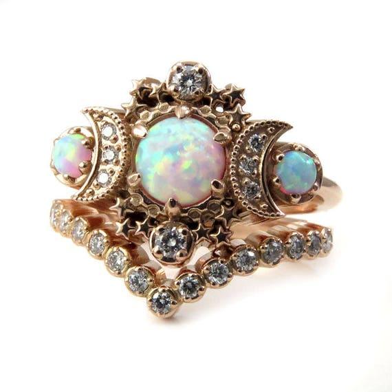 Lab Opal Cosmos Rose Gold Moon Engagement Ring - Bohemain Diamond Wedding Set