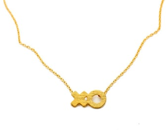 Tiny XO necklace-hugs and kisses Valentine necklace-layering necklace