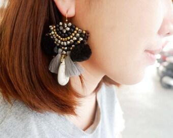 Summer Beach Pompoms & Beaded Earrings
