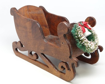Vintage 1950's Santa's Sleigh with Wreath, Hand Made for Christmas