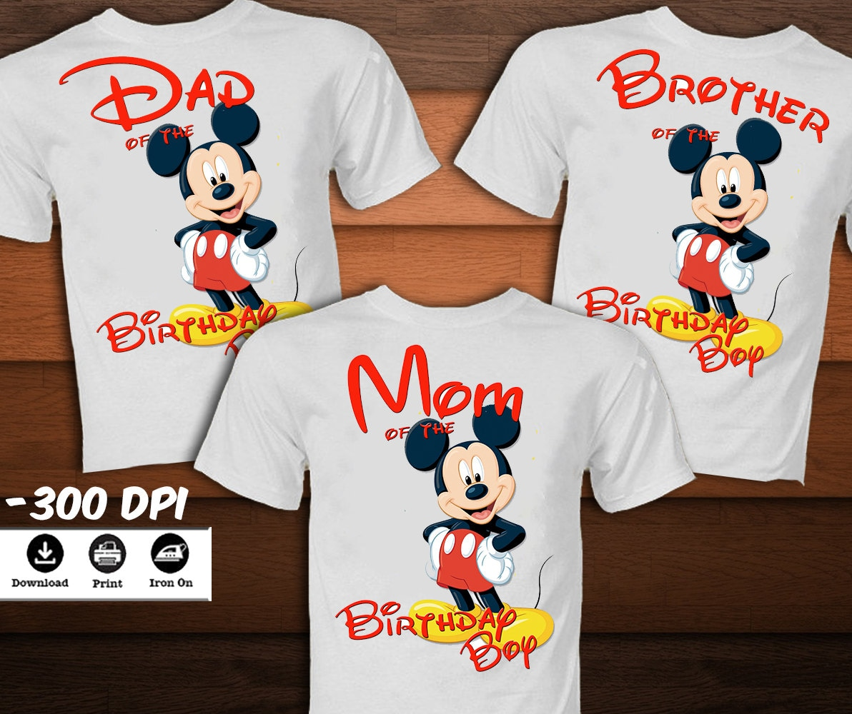 set mickey mouse birthday shirt for family mickey mouse iron. Black Bedroom Furniture Sets. Home Design Ideas