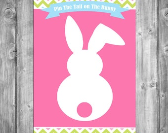 50% OFF SALE - Pin the Tail on the Bunny Game Printable - Instant Download - Easter Chevron Collection