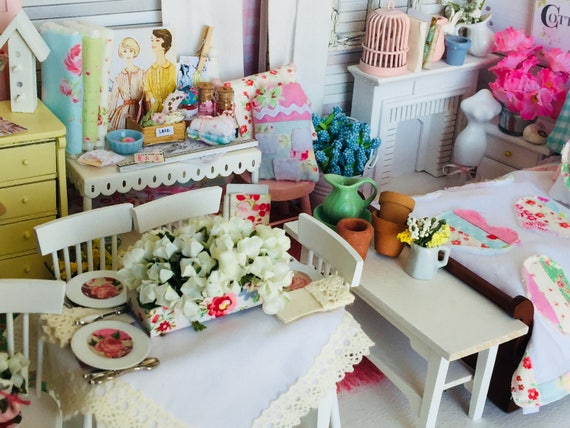 Miniature Spring Flower Collection Tablescape, Table and 4 Chairs -1/12 scale