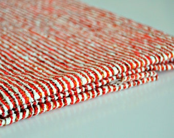Cotton/Wool Fabric - Stripes, Red and White