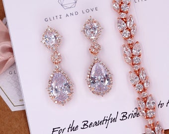 Rose Gold Wedding Bride Bridesmaid Gift Bridal Earrings Bracelet Jewelry Set Clear Cubic Zirconia Teardrop Earrings E316 B88