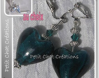 """CLIPS / EARRINGS STUD EARRINGS TO CHOOSE GLASS CRYSTAL """"EMERALD HEART"""""""