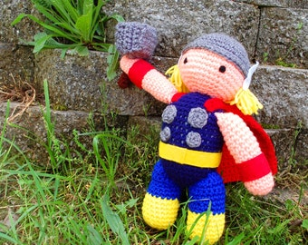 My Hero Thor with Hammer PDF Crochet Toy Pattern INSTANT DOWNLOAD