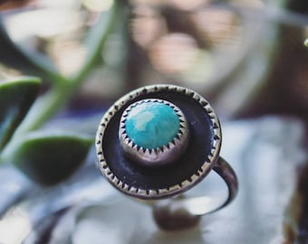 Sterling Silver Shadowbox Royston Turquoise Ring with Hammered Border, Handcrafted Sterling Silver Sky Blue Royston Turquoise Ring Size 8.5