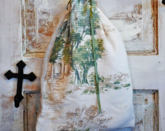 Linen Drawstring Bag | Vintage Linen Bag | Washed Linen Bag |  Lingerie Bag | The Wild Raspberry