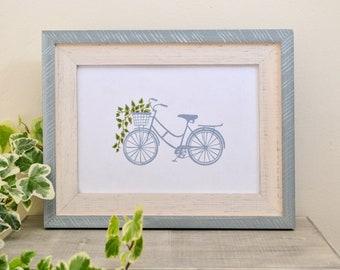 Bicycle Print w/Floral Basket, A5/A6 Print, Bicycle Print Postcard, Vintage Bike Print, Mother's Day Gift, Floral Lino Print Bicycle