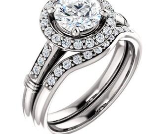 1 CT 6.5mm  Forever Brilliant Moissanite Solid 14K White Gold  Halo  Engagement  Ring Set - ST82730