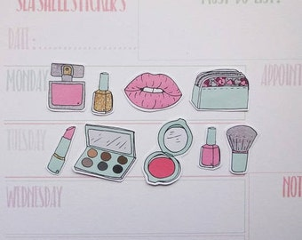 Makeup Planner Stickers, Beauty Stickers, beauty scrapbook, nail polish stickers, lips stickers, parfum stickers, liptick stickers