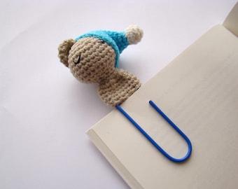 Crochet bear crochet bookmark planner blue paper clips personalized paper clips bear bookmark crochet amigurumi bear fun paper clips crochet
