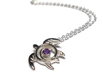 Amethyst Sea Turtle Necklace - Amethyst Sea Turtle Pendant - Turtle Totem Sterling Silver - February Birthstone Necklace