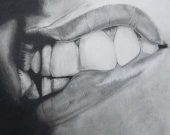 "12x16"" Original Charcoal Drawing- Realism, Figure, Mouth"