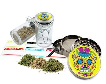 "Sugar Skull - 2.5"" Zinc Alloy Grinder & 75ml Locking Top Glass Jar Combo Gift Set Item # G021615-031"