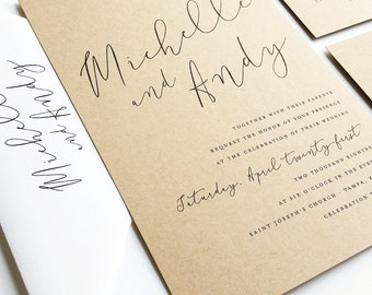 Cricket printing wedding invitations more by cricketprinting michelle calligraphy script recycled kraft wedding invitation sample stopboris Gallery