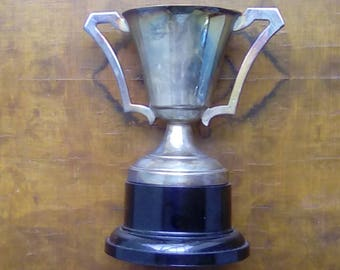 Vintage Silver Plate Trophy Cup Award Unengraved Mid Century Trophy