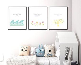 Baha'i Quote 3 print set, PRINTABLE art, Nursery decor, Nursery wall art, Kids art, Baby boy/girl nursery art, Baha'i Prayer print, Unity