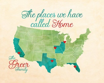 Personalized Housewarming Gift for Family, The Places We Have Called Home, USA Map with Hearts on Locations Lived, Unique Gifts | WF540