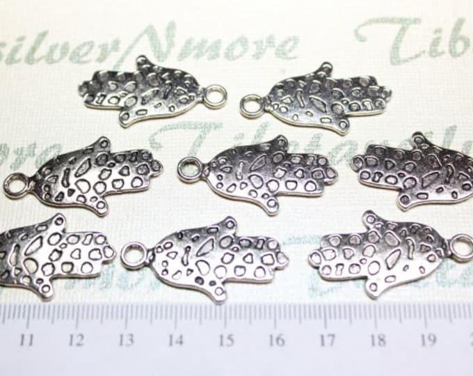 12 pcs per pack 35x18mm Hamsa Hand of Fatima Charm in Antique Silver