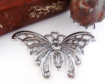 ANTIQUE SILVER * Large Lace Wings Butterfly Stampings ~ Jewelry Findings (FC-16)