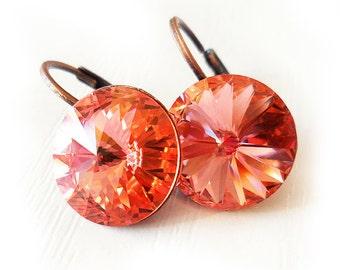 Swarovski Pink Peach Earrings, Pink Rivoli Cut Rhinestone Earrings, Small Orange Round Cut Earrings, Gift for Mom Mothers Day