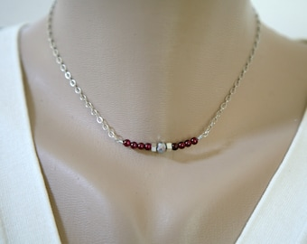 Marsala Colored Understated Dainty Gemstone and and Silver Bead Necklace, Minimalist Jewelry
