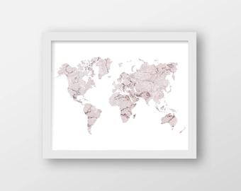 pink marble world map art print office decor home decor wall art