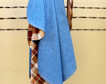 Baby blanket blue, Denim, Play mat, denim and flannel, Blue and Tan, Western blanket, cotton, Made in USA