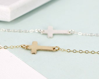 Large sideways cross necklace • Cross necklace • Layering necklace • Gold-filled or sterling silver • Cross necklace for Christians