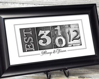 Wedding Gift for Couples, Wedding Date Print, UNFRAMED, wedding or anniversary date print, with free personalized text